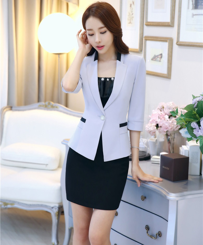 New Professional 2016 Spring Summer Formal Uniform Design Jackets And Skirt Female Blazers Set Ladies Office Outfits Skirt Suits
