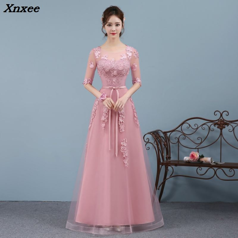 Elegant Women Ladies Embroidered Tulle Prom Princess Bridesmaid Long Dress Formal Dress First Communion Party Dress Maxi Dress in Dresses from Women 39 s Clothing