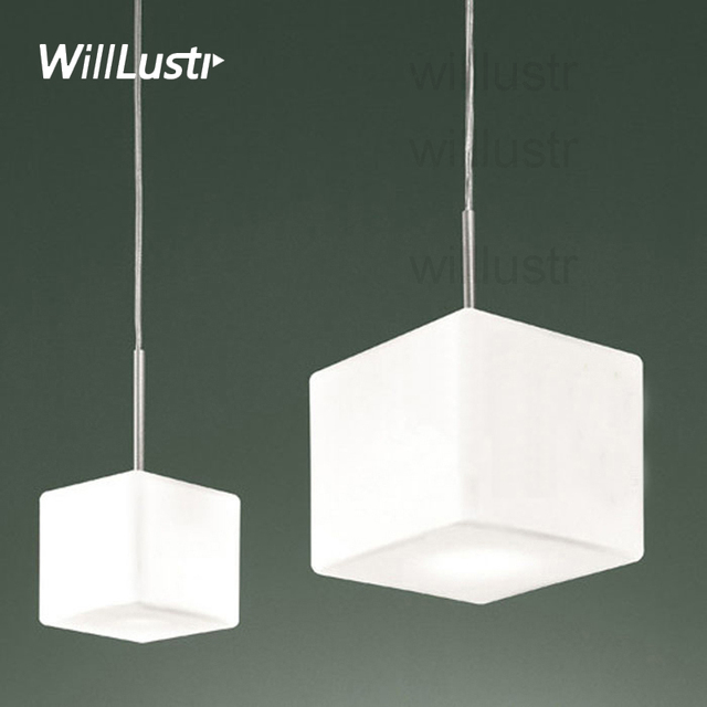 modern Cubi Pendant Lamp milk white cubic glass cube Suspension Light dinning room restaurant hotel office Italy design lighting