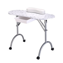 Portable Manicure Nail Table Station Desk Spa Beauty Salon Equipment (White Flowers)(China)