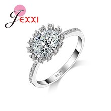 JEXXI Luxury Big Shiny Crystal Mosaic Wedding Rings Fashion 925 Stamp Silver Jewelry Propose Marriage Gifts For Beloved Women