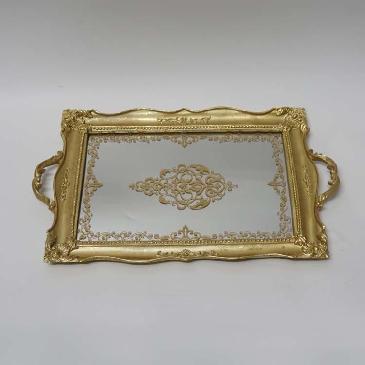 Vintage classique grand rectangulaire sculpté miroir plateau or clair thé fruits dessert décoration