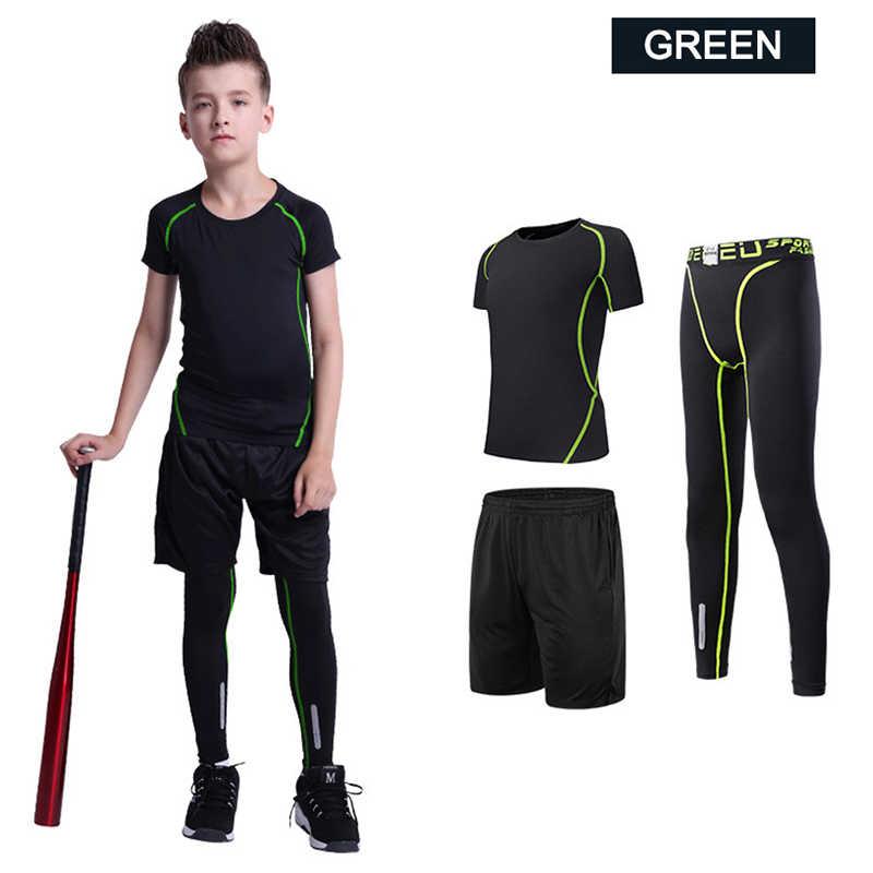 Pria Pelatihan Pakaian Latihan Yg Hangat Anak-anak Kebugaran Kompresi Set Anak Berjalan Celana Ketat Olahraga Pakaian Workout Gym Kaos Olahraga 2 Pcs
