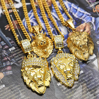 4 עיצוב Mens זהב מלך אריות ראש כתר Leo 3D בעלי החיים תליון סגולה עם 27.5
