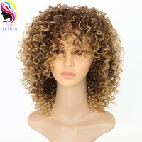 Feibin Kanekalon Afro Wigs for Black Women Kinky Curly Ombre Blonde Nature Black Synthetic Wigs African 14inches
