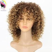 Feibin Korte Afro Pruiken voor Zwarte Vrouwen Kinky Krullend Ombre Blond Natuur Zwart Synthetische Pruiken Afrikaanse 14 inches