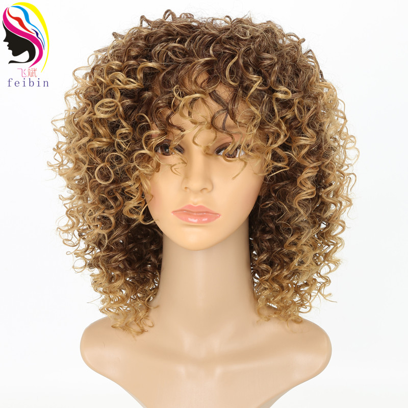 Feibin Short Afro Wigs for Black Women Kinky Curly Ombre Blonde Nature Black Synthetic Wigs African 14inches