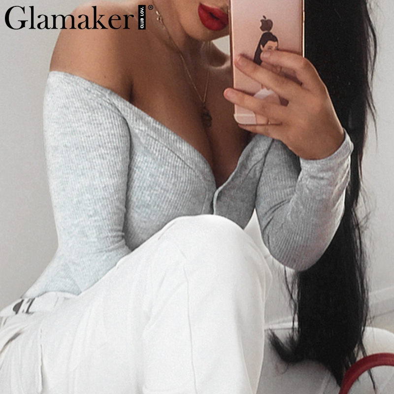 Glamaker Off shoulder buttons red sexy bodysuit Women fashion white bodycon bodysuits one-pieces Slim soft party autumn jumpsuit
