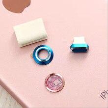 Новая Задняя Металл Объектив Камеры Защитный Протектор Защитное Кольцо Металла Круг Чехол Для iPhone 7 7 Plus + Кнопка Наклейки + Пыль plug