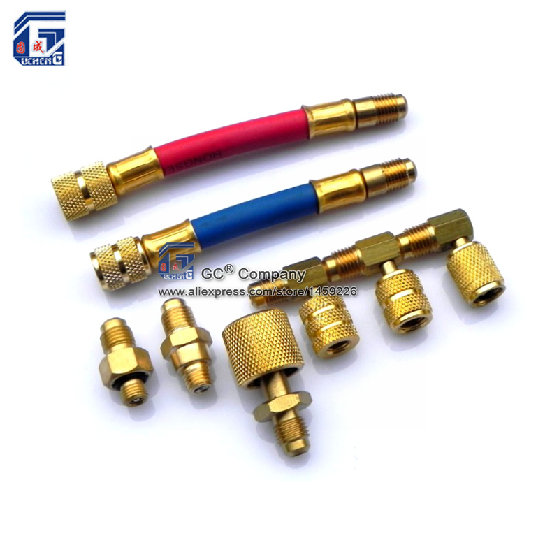 A/C Klimaanlage Manifold Umwandlung Messing Adapter Schlauch Set R134a R12