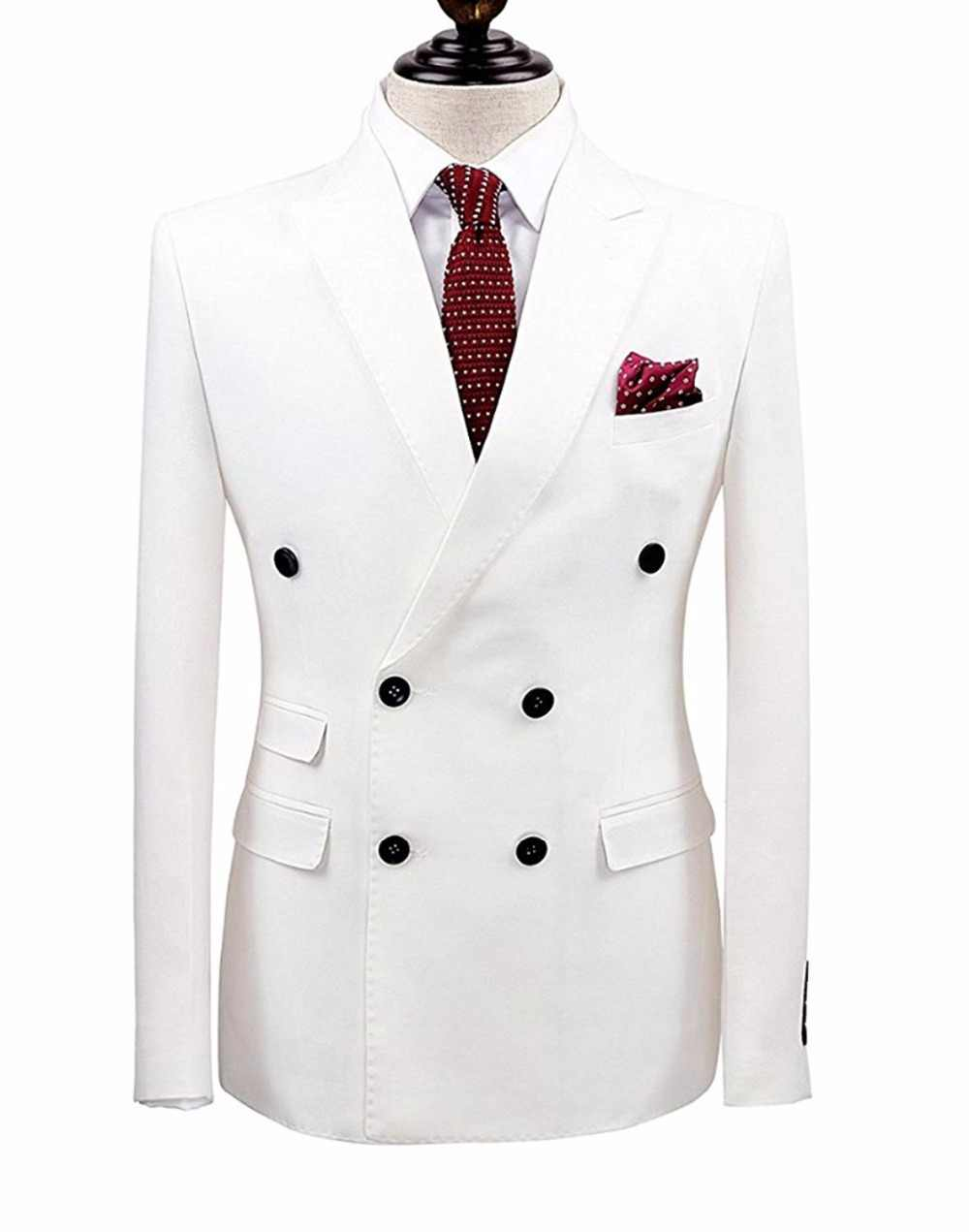 White 2 Pieces Men Suits Double Breasted Groom Terno Masculino Smoking Slim Fit Men Wedding Suits Blazer Tuxedo Jacket+Pants