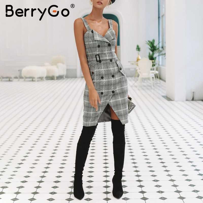 BerryGo/зимнее платье миди в клетку на лямках, 2018, OL, с разрезом, с поясом, с карманами, Повседневное платье, женское платье с v-образным вырезом и пуговицами, с высокой талией, vestidos