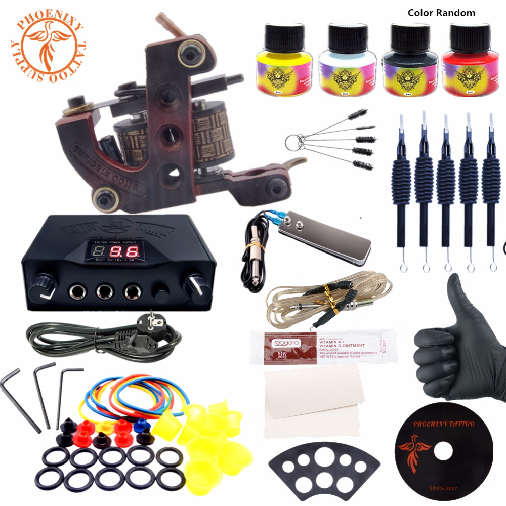 Complete Tattoo Kit 4 Colors Tattoo Ink Machines Set Black Power Supply Needles Permanent Make Up Professional Tattoo Kit Set professional tattoo kits liner and shader machines immortal ink needles sets power supply