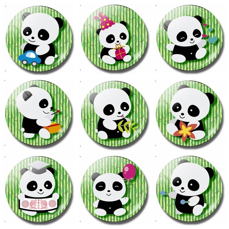 Kawaii Cartoon Panda 30 MM Fridge Magnet Anime Treasures Kids Gifts Glass Magnetic Refrigerator Stickers Note Holder Decor