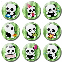 Kawaii Cartoon Panda 30 MM Fridge Magnet Anime Treasures Kids Gifts Glass Magnetic Refrigerator Stickers Note Holder Decor