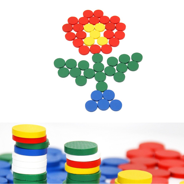 88Pcs Montessori Wooden Sensorial Round Chips Kids Early Learning ...