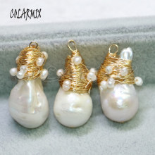 5 pieces natural pearl stone pendants big pearl beads free-form wire wrap necklace pendants wholesale pearl Gems for women 9118(China)