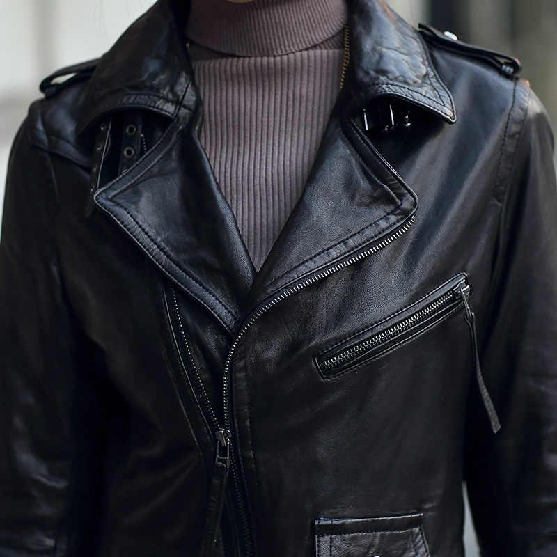 Luxus Echtem Leder Frauen Jacke Motorrad Mantel 2018 Neue Frühlingsherbst Echte Schaffell Schlank Weibliche Outwear Mantel Plus Größe G09
