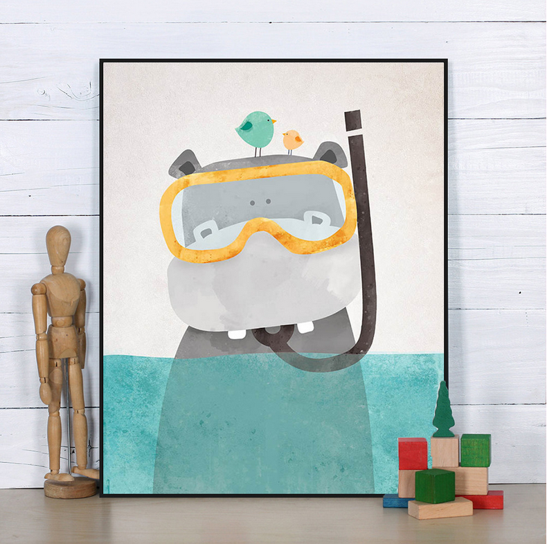 Glasses hippo frameless canvas art print painting wall for Canvas painting for kids room