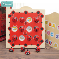 Bavoirsj Ladybug Cartoon Montessori Wooden Toys Baby Early Educational Toy for Children Interactive Toys Box Waldorf Toy B1997