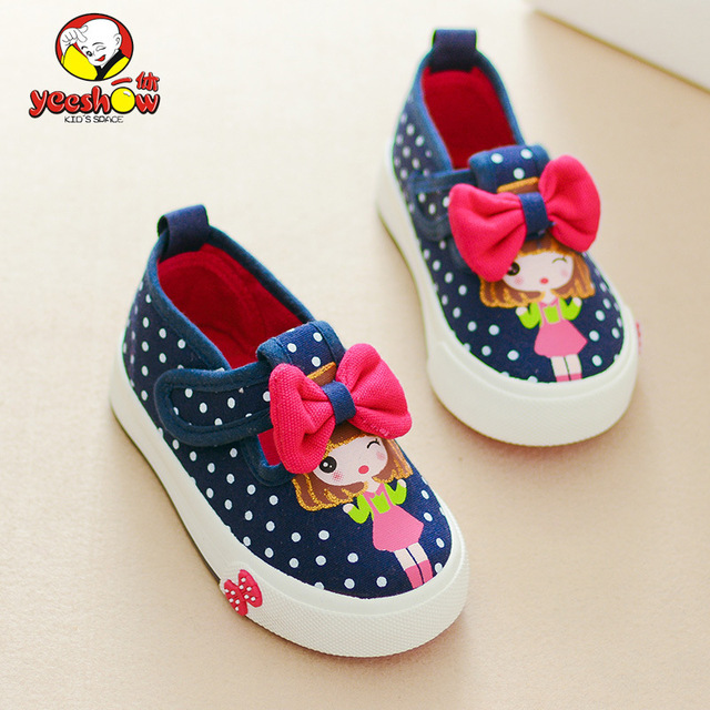 New autumn baby shoes 0-2 age toddler chaussure enfant red bow canvas flat with girl shoes black dot hook&loop shoes Size 19-24