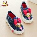 Nuevos zapatos de bebé de otoño 0-2 años niño chaussure enfant lazo rojo tela plana con zapatos de la muchacha de punto negro hook & loop zapatos Tamaño 19-24