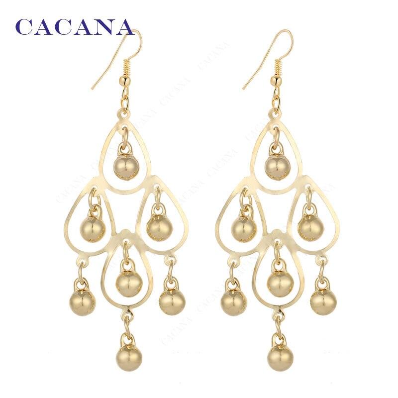 CACANA Dangle Long Earrings For Women Beautiful Round Water Drop Bijouterie Hot Sale No.A111 A112