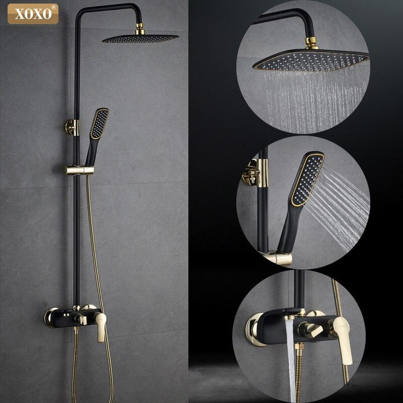 XOXO חדש שחור + זהב מצופה נחושת אמבטיה מקלחת ברז אמבטיה מקלחת ברז מקלחת סט מיקסר להתאים גובה