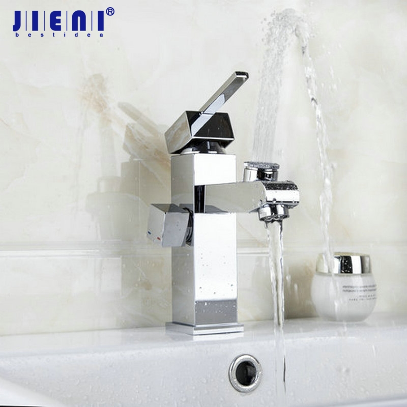 JIENI Basin New 2 Spouts Swivel Double Spout Deck Mounted Single Handle Chrome Bathroom Basin Faucet Mixer Tap