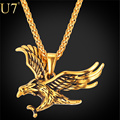 U7 Brand Eagle Statement Necklace Men Jewelry Wholesale Gold Plated Stainless Steel Hawk Animal Charm Pendant & Chain P748