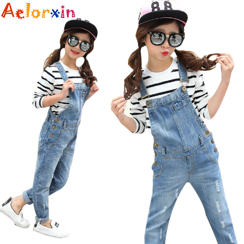 Denim Overalls for Girls Jeans Pants Children Clothes Spring Autumn Girls Jumpsuit Kids Trousers for Girls 2 4 6 8 9 10 12 Years цены