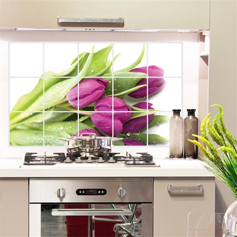 Purple Tulip Flowers Kitchen Vinyl Wall Stickers Home