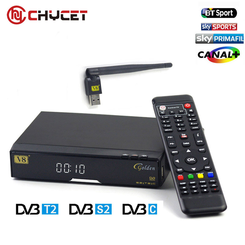 ФОТО Chycet Open box V8 Golden DVB-S2/ DVB-T2/DVB-C Receptor satellite Decoder 1 USB WIFI set top box with 1year Europe cccam Cline