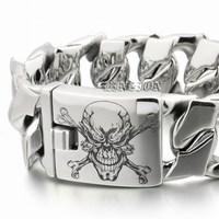LINSION Huge Heavy 316L Stainless Steel Deep Laser Engraved Pirate Skull Mens Boys Biker Rock Punk