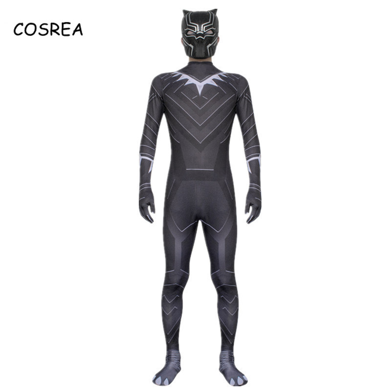 Movie Black Panther Cosplay Costumes Superhero Black Jumpsuit Bodysuits Mask For Kids Adult Men Boys Halloween Party Clothes