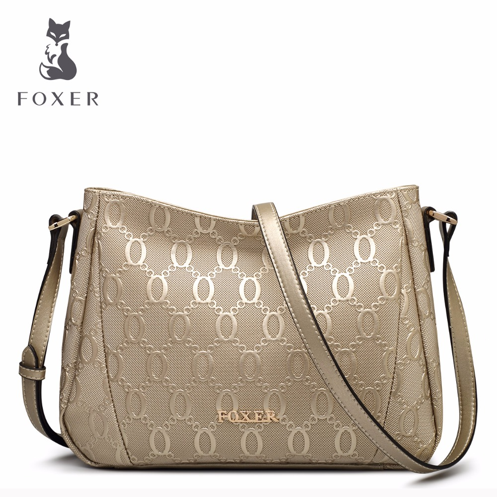 FOXER Merk Tas vrouwen Schoudertassen Vrouwelijke Hight Kwaliteit Crossbody Tas Mode Lederen Messenger Bags Voor Vrouw-in Schoudertassen van Bagage & Tassen op  Groep 2