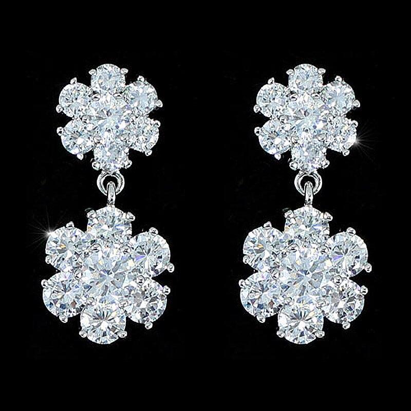 Peacock Star Wholesale Free Shipping Dangle Flower 3 Carat CZ Earrings CSE533