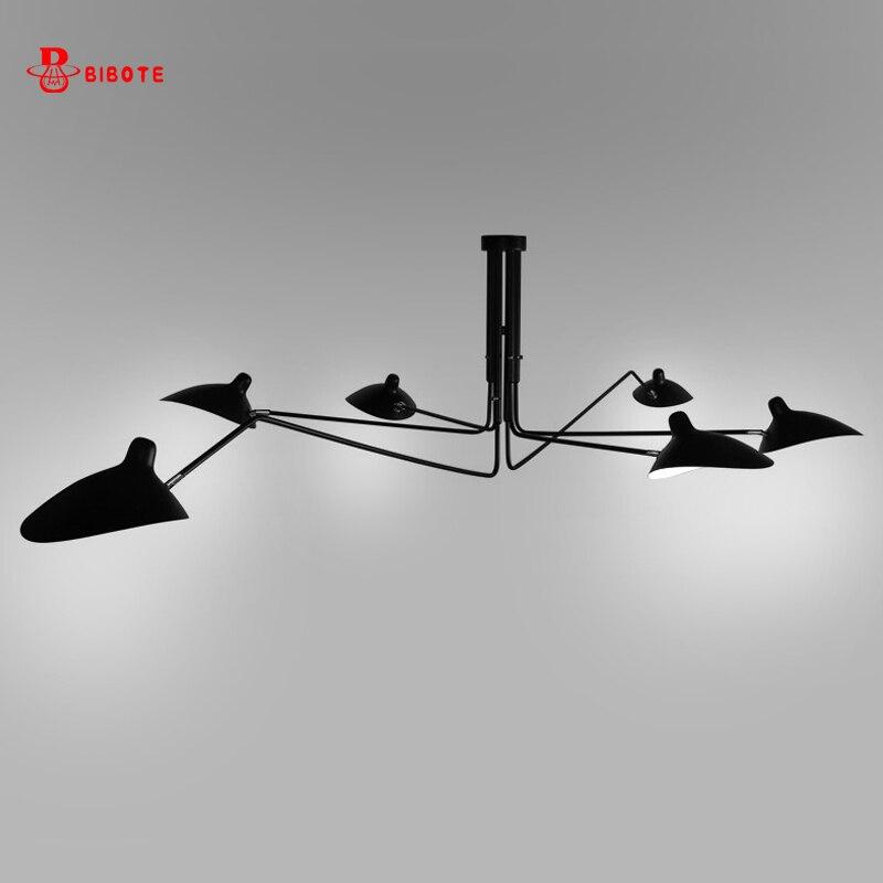Творческий Лофт Nordic черный Утконос Регулируемая люстра светильник DIY ретро промышленные железная подвеска паук подвесной