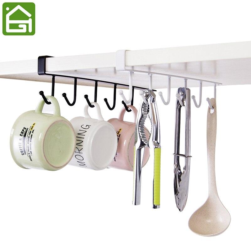 6 Hooks Cup Holder Hang Kitchen Cabinet Under Shelf: Kitchen Storage Rack Cupboard Hanging Coffee Cup Organizer
