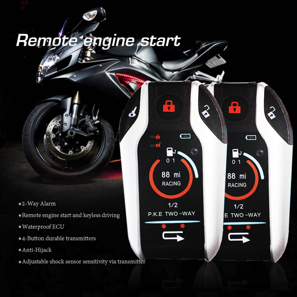 Two Way Motorcycle Alarm Device Anti-theft System Scooter Burglary Vibration Alarm Remote Engine Start 5meter Auto-lock 5