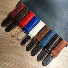 Watch Accessories Watch Strap 24mm Brwon Blue Red White Vintage Crazy Horse Mate Genuine Leather Watch Band For Panerai PAM Belt все цены