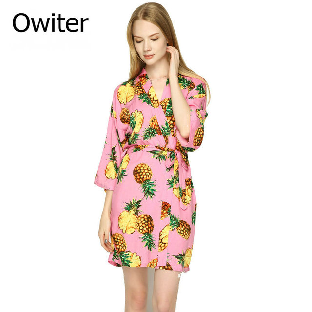e9de865277 Owiter Cotton Pineapple Floral Robe women bride robe Gown Bride Wedding  kimono robe YX1
