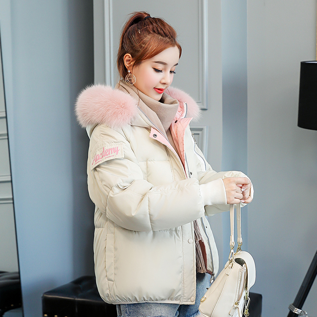 c9e8891d51 US $40.53 |Women Winter parkas 2018 New solid Casual thick warm white color  pink Fur hooded back printed letter cotton padded jacket coat-in Parkas ...