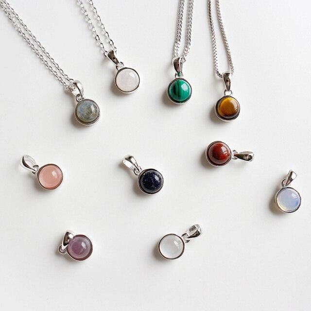 Hot Sale 100% 925 Sterling Silver Customizable Natural Malachite Labradorite Crystal Agate Opal Tigereye Gem Pendants Jewelry 3