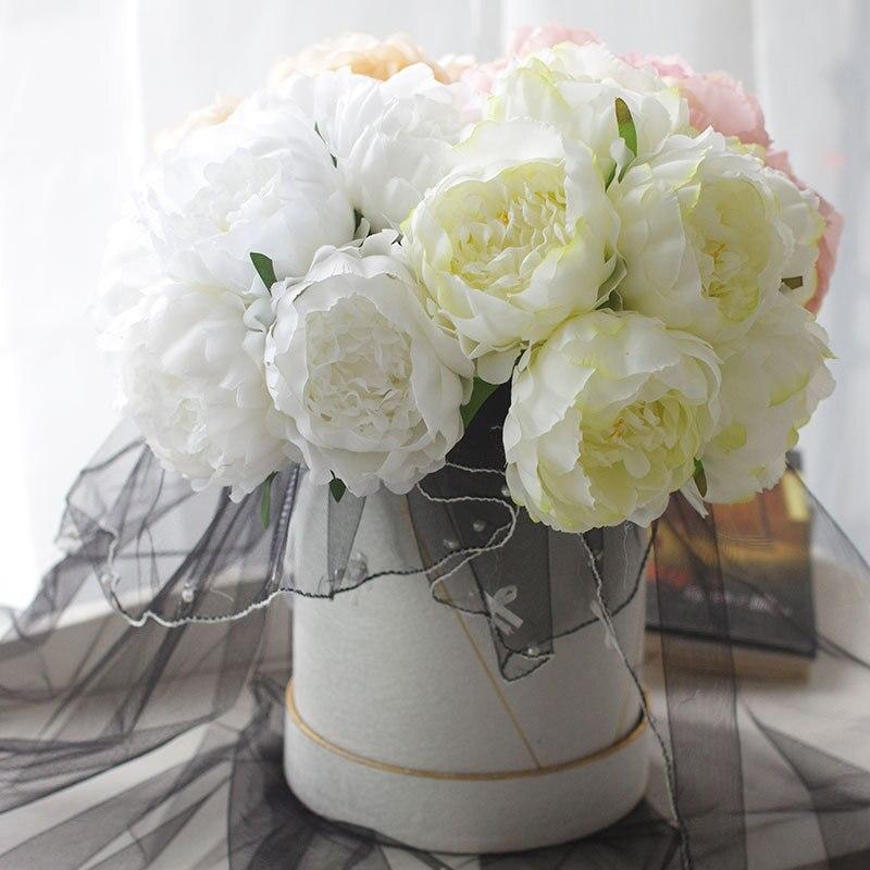 6 Heads Peony Artificial Flower Branch DIY Bridal Wedding Bouquet Silk Flowers Home Garden Office Decoration flores artificiais