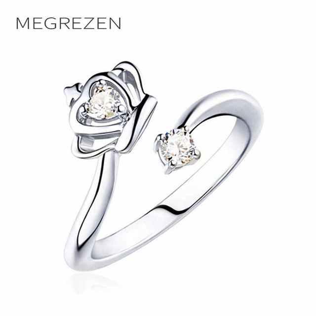 Megrezen Damen Silber Ringe Weibliche Krone Kristall Hochzeit Ring