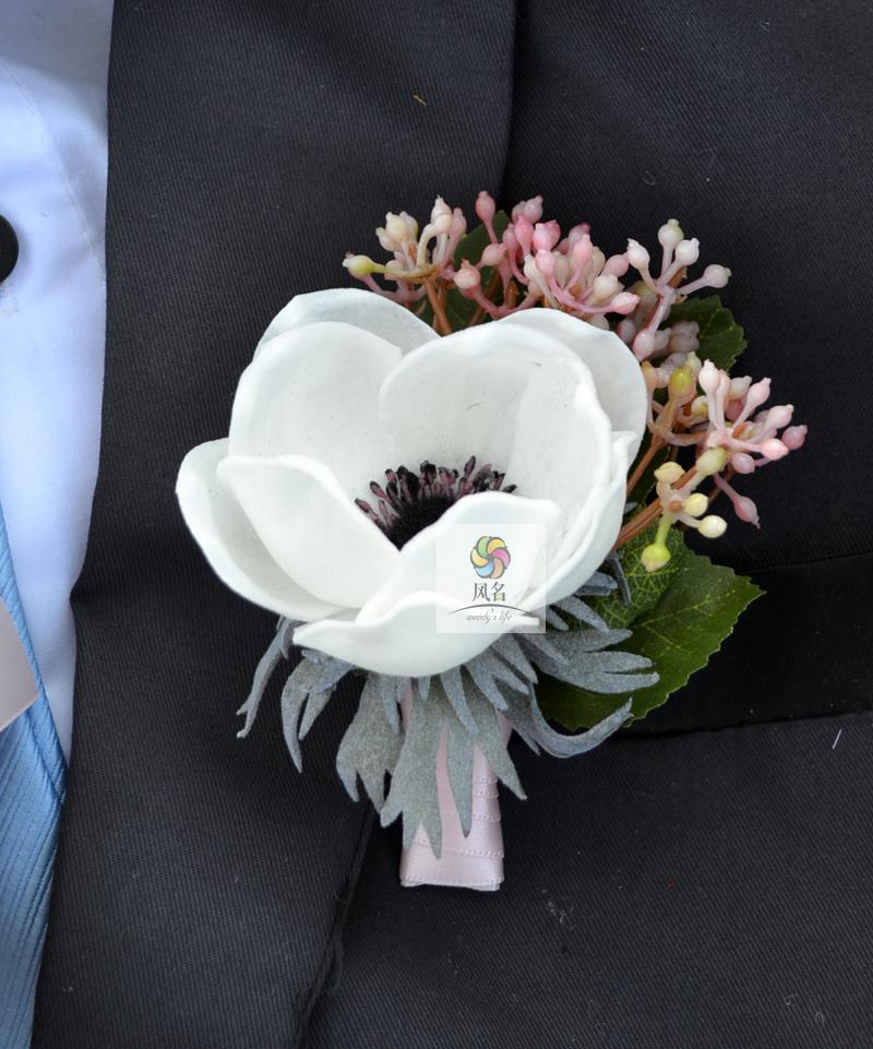 Wedding corsages groom boutonniere bride bridesmaid hand wrist wedding corsages groom boutonniere bride bridesmaid hand wrist flower white artificial anemone flowers wedding supplies corsage in artificial dried mightylinksfo