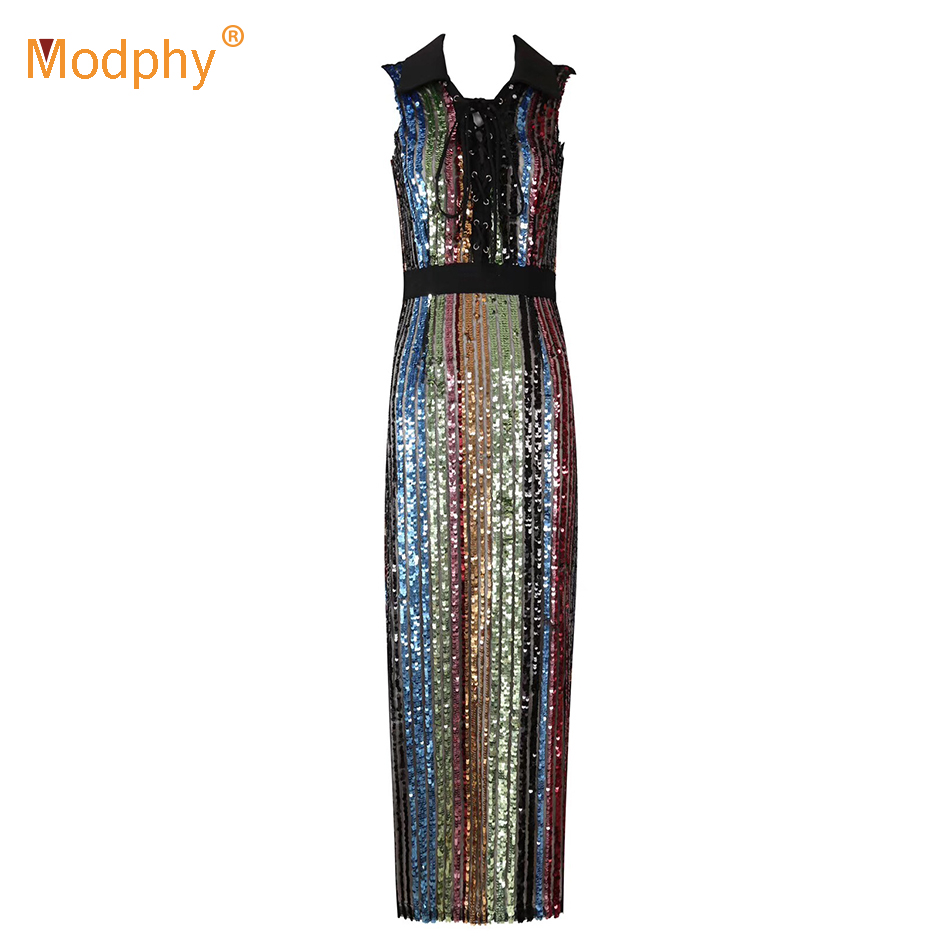 Women's <font><b>Luxury</b></font> Color Striped Sequined Bandage <font><b>Dress</b></font> <font><b>Sexy</b></font> Sleeveless Long <font><b>Dress</b></font> <font><b>2018</b></font> Women's Elegant Party Bodycon Vestidos image