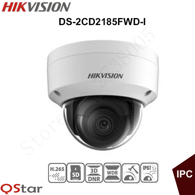 Hikvision 8MP English IP Camera DS-2CD2185FWD-I Mini Dome CCTV Camera IP67 IK10 Upgradable POE Security Camera sd card Slot 128G hikvision new released 8mp h 265 network dome camera ds 2cd2185fwd i 3d dnr bullet camera 3840 2160 resolution ik 10 ip 67