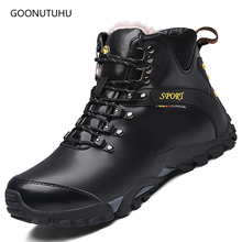 Fashion men's boots genuine leather causal shoes army winter wool snow boot plus size shoe man work ankle military boots for men vancat 2018 new genuine leather men snow boots autumn winter outdoor working man ankle boot men s work shoes plus size 38 47